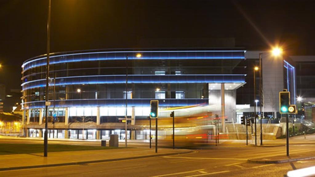 lit up building